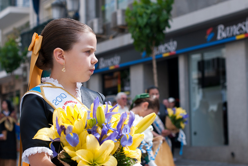 Girl participating in Roman Catholic ceremony in Benidorm, Spain