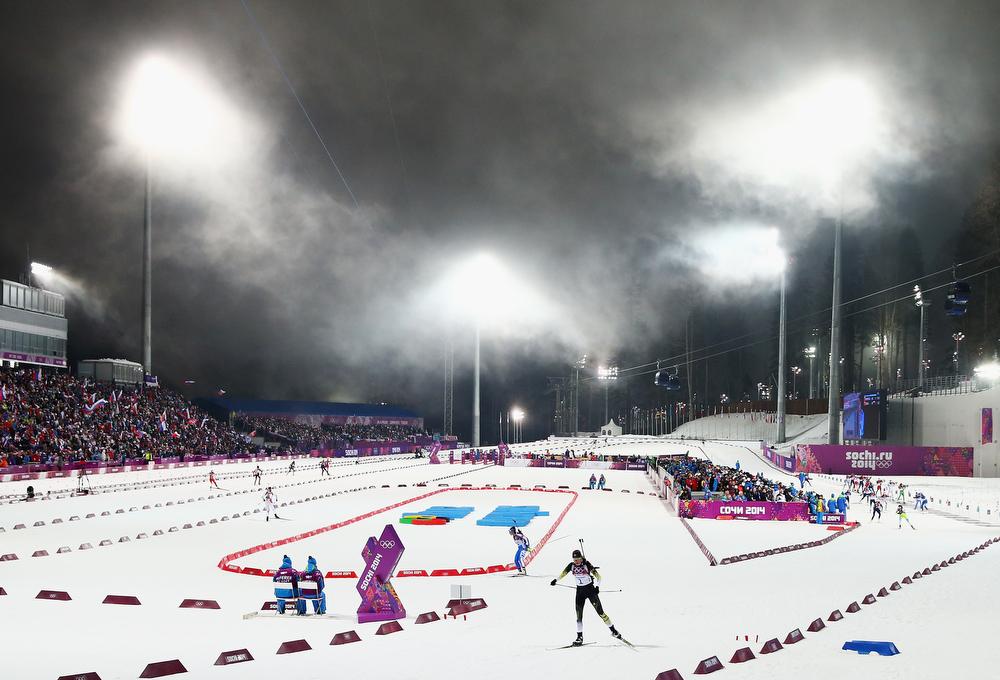 . Anastasiya Kuzmina of Slovakia exits the range during the Biathlon Women\'s 10km Pursuit during the Sochi 2014 Winter Olympics at Laura Cross-country Ski & Biathlon Center on February 11, 2014 in Sochi, Russia.  (Photo by Ryan Pierse/Getty Images)