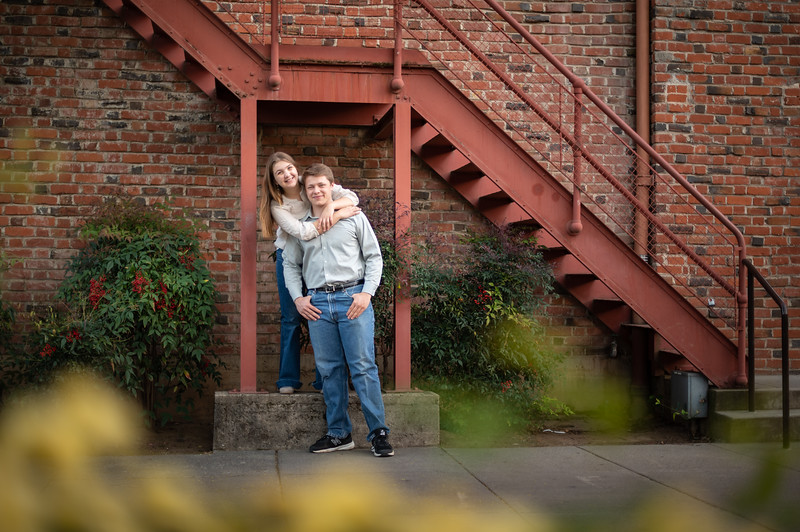 Kayla Phillips (left) a senior at CORE Butte High School, and Cole Korte (right), a senior at Chico High School, take senior photos on Sunday, March 28, 2021 in Chico, Calif. (Jason Halley/Photographer/Chico, CA)