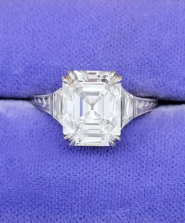 3.65ct Vintage Emerald Cut Diamond in CvB Solitaire - GIA I, VVS2