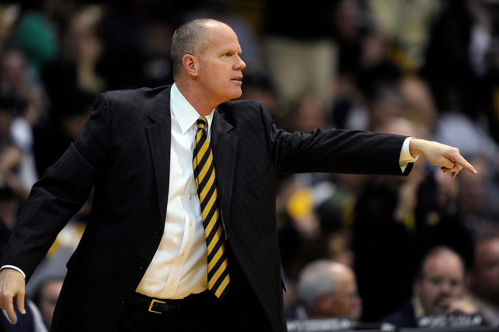 . BOULDER, CO. - MARCH 7: Colorado coach Tad Boyle came out of his chair to make a point in the first half. The University of Colorado men\'s basketball team hosted Oregon Thursday night, March 7, 2013 at the CU Events Center in Boulder. (Photo By Karl Gehring/The Denver Post)