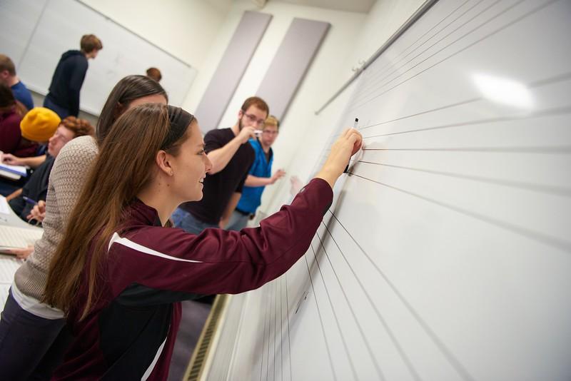 "-UWL UW-L UW-La Crosse University of Wisconsin-La Crosse; Candid; Center for the ArtsCFA; Classroom; Collaborating; day; December; Inside; Music; Pen; Pencil; Student students; Studying; ""Whiteboard;Chalkboard""; Woman women"