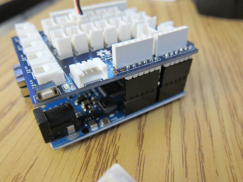 Grove-Base shield mounted on Arduino