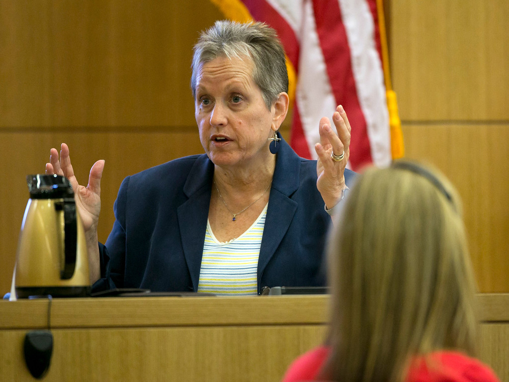 . Alyce LaViolette a domestic violence expert testifies during the Jodi Arias trial at Maricopa County Superior Court in Phoenix on Wednesday, April 3, 2013. Arias is charged with murder in the death of lover Travis Alexander. (AP Photo/The Arizona Republic, David Wallace, Pool)