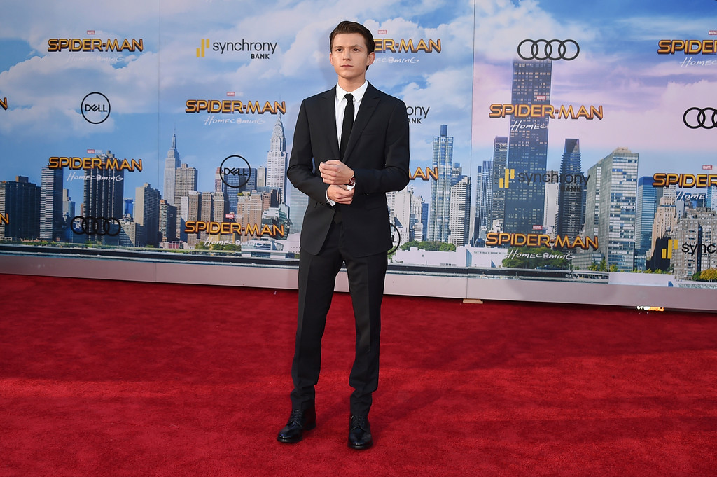 """. Tom Holland arrives at the Los Angeles premiere of \""""Spider-Man: Homecoming\"""" at the TCL Chinese Theatre on Wednesday, June 28, 2017. (Photo by Jordan Strauss/Invision/AP)"""
