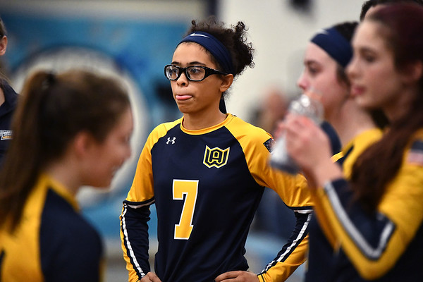 11/16/2019 Mike Orazzi | StaffrWoodstock Academy's Diana Gonzalez (7) during the 2019 State Girls Volleyball Tournament Class L Quarterfinals at BEHS in Bristol Saturday. r