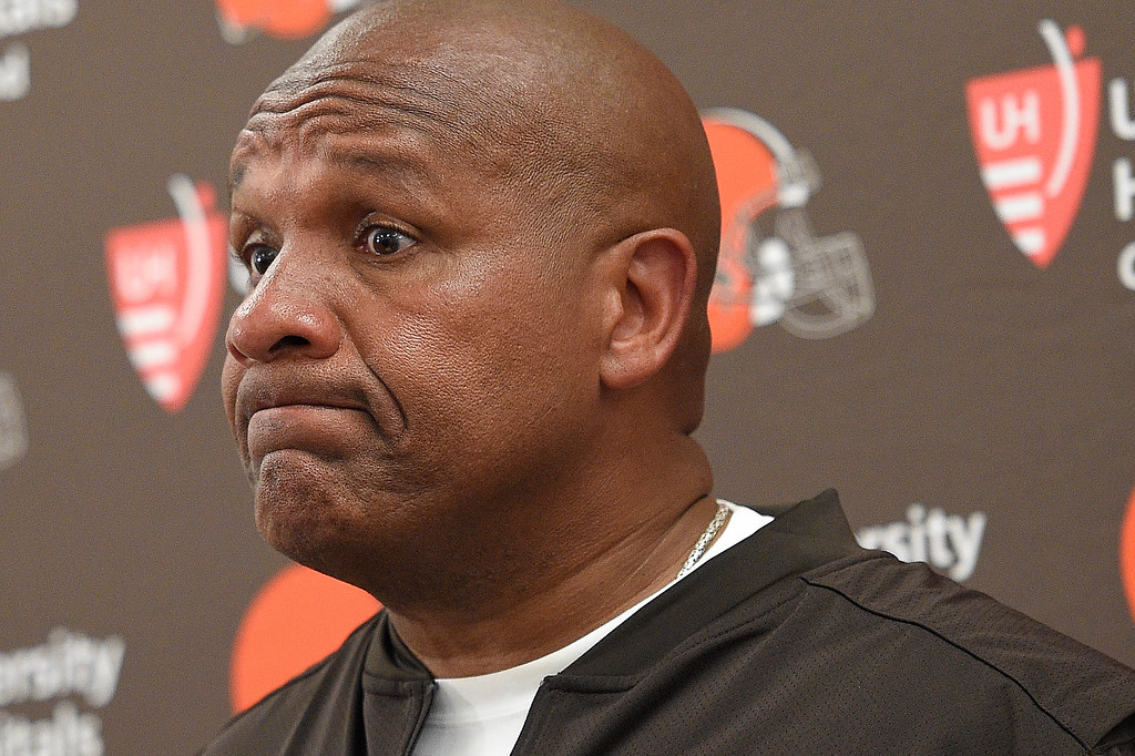 . Cleveland Browns head coach Hue Jackson listens to a questions during a press conference after an NFL football game against the Baltimore Ravens in Baltimore, Sunday, Sept. 17, 2017. The Ravens defeated the Browns 24-10. (AP Photo/Nick Wass)