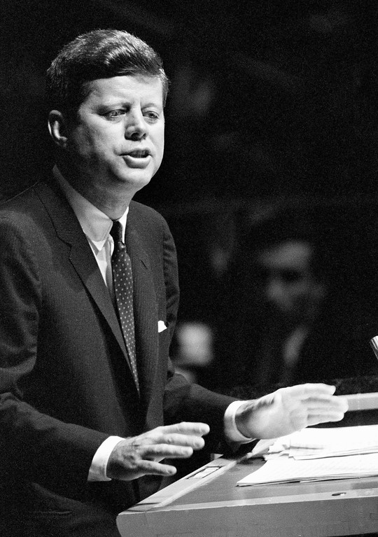 """. In this Sept. 25, 1961 file photo, President John F. Kennedy speaks before the U.N. General Assembly in New York. The son of Joseph and Rose Kennedy, 35th president of the United States, was assassinated in November 1963, at the age of 46, after serving less than three years. He was the youngest president ever elected and the first Roman Catholic. His book, \""""Profiles in Courage,\"""" won the Pulitzer Prize in history. (AP Photo, file)"""