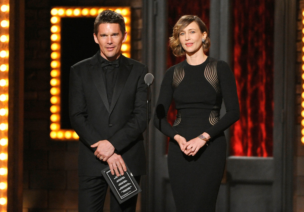 . Ethan Hawke, left, and Vera Farmiga present the award for best performance by an actress in a featured role in a play on stage at the 68th annual Tony Awards at Radio City Music Hall on Sunday, June 8, 2014, in New York. (Photo by Evan Agostini/Invision/AP)