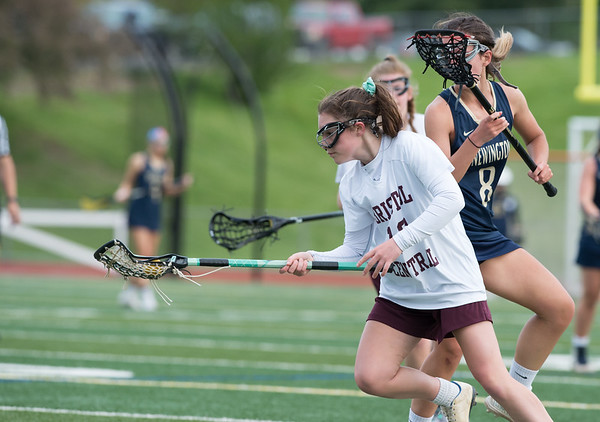 05/10/19 Wesley Bunnell | Staff Newington girls lacrosse defeated Bristol Central in an away game at Bristol Central High School on Friday afternoon. Bristol Central's (10)