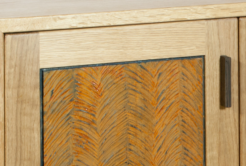 Sideboard oak, panel detail in rusted oak