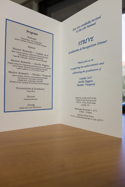 STRIVE Graduation dinner, November 2015
