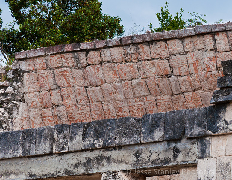 Murals cover the interior of Temple of the Bearded Man at the north end of the Great Ball Court, Chichen Itza