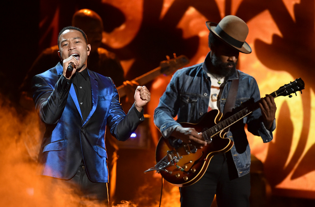 . Musicians John Legend (L) and Cody Chesnutt perform onstage during the BET AWARDS \'14 at Nokia Theatre L.A. LIVE on June 29, 2014 in Los Angeles, California.  (Photo by Kevin Winter/Getty Images for BET)