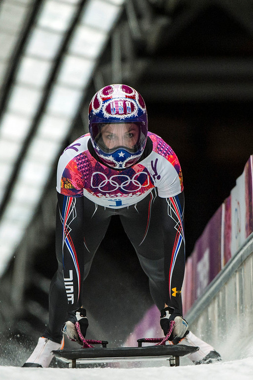 . Noelle Pikus-Pace competes in the women\'s skeleton competition at Sanki Sliding Center during the 2014 Sochi Olympics Friday February 14, 2014. Pikus-Pace finished with a time of 3:53.86, wining the silver medal. (Photo by Chris Detrick/The Salt Lake Tribune)