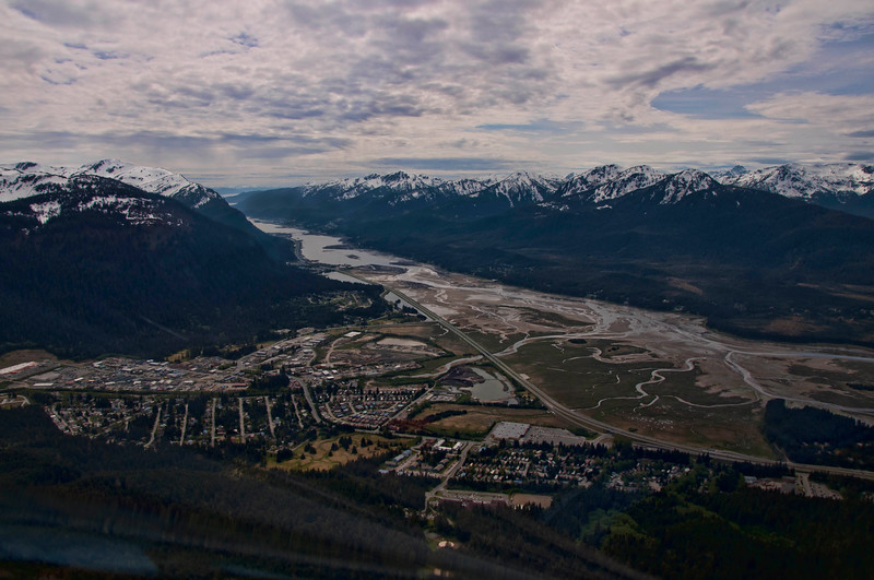 The city of Juneau from the air.  Beautiful!