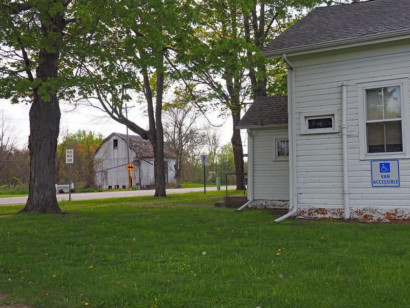 Flowerfield Township Hall (and barn across the street)