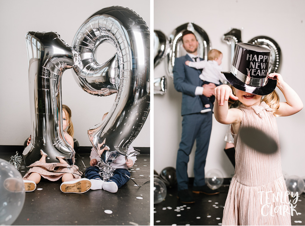 Minimalist studio family 2019 New Year's themed mini session photoshoot by Tenley Clark Photography. San Jose, CA.