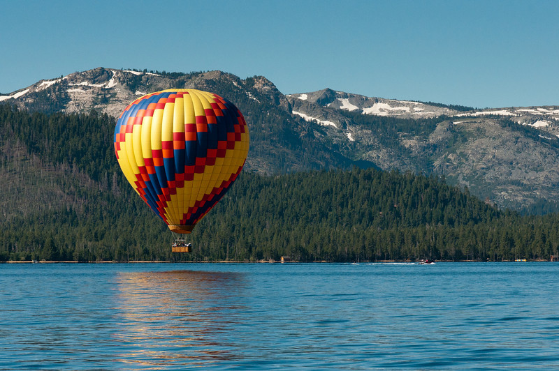 Hot air balloon ride over Lake Tahoe, Nevada