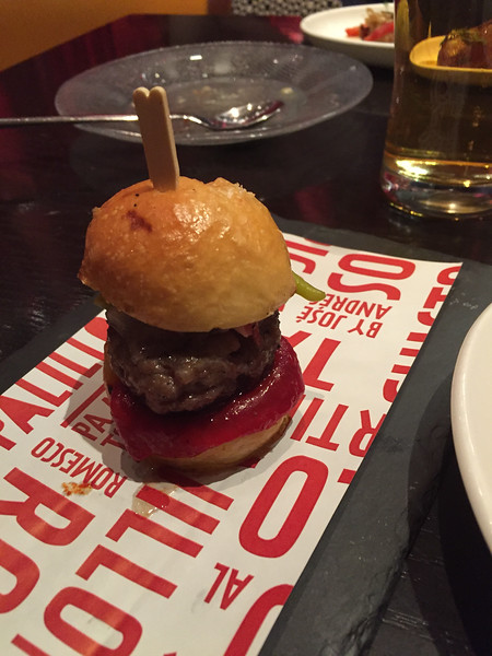 Lunching like a spaniard at Jose Andres.  Had their tapas lunch special.  All of it was excellent. Mini pepito de ibéricoSpanish mini burger made from the legendary, acorn-fed, black footed ibérico pigs of Spain with ibérico bacon