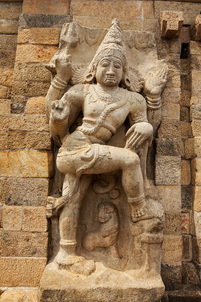 Stone statue of guardian Hindu deity