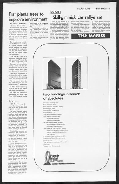 Daily Trojan, Vol. 61, No. 115, April 29, 1970