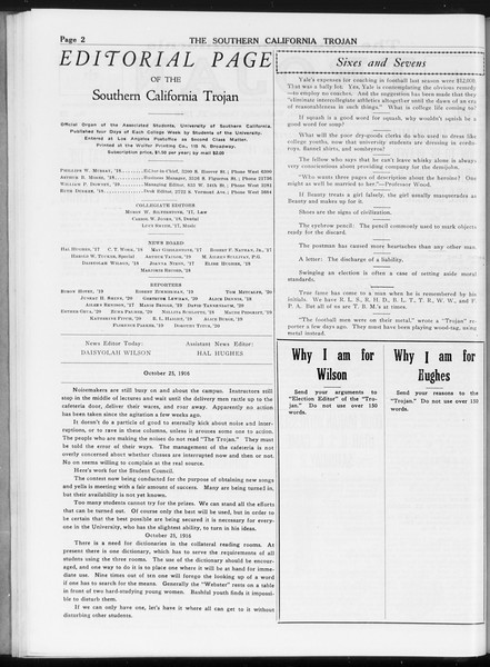 The Southern California Trojan, Vol. 8, No. 22, October 25, 1916