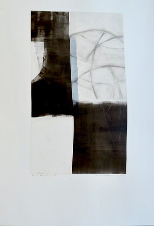 Black and White Structure III-Mackey, painting on 22x30 paper