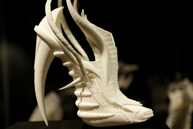 ". Janina Alleyne\'s ""Exoskeleton\"" shoe on display at the \""Shoe Obsession\"" exhibit at The Museum at the Fashion Institute of Technology Museum in New York. The exhibition, showing off 153 specimens, runs through April 13. (AP Photo/Kathy Willens)"
