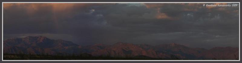 Panoramic of Mountain Peaks at sunset near Kingman (Stiched 14 pics), Arizona, September 2009