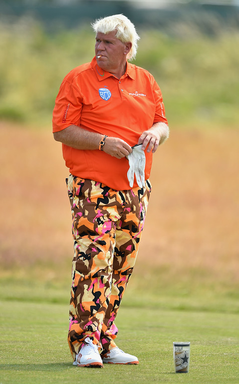 . HOYLAKE, ENGLAND - JULY 18:  John Daly of the United States waits on the eighth hole during the second round of The 143rd Open Championship at Royal Liverpool on July 18, 2014 in Hoylake, England.  (Photo by Stuart Franklin/Getty Images)