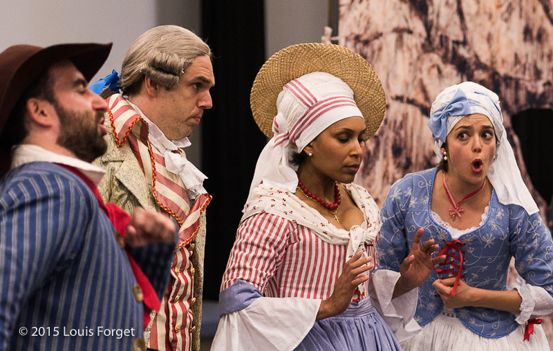 (L. to R.) Baritone Thomas Dolié and sopranos Talise Trevigne and Sophie Junker in ehearsal of Opera Lafayette's production of Grétry's L'Épreuve Villageoise