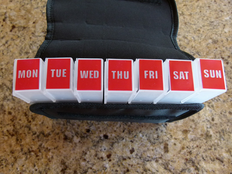MedCenter Traveler Pill Organizer comes with a box for each day of the week.