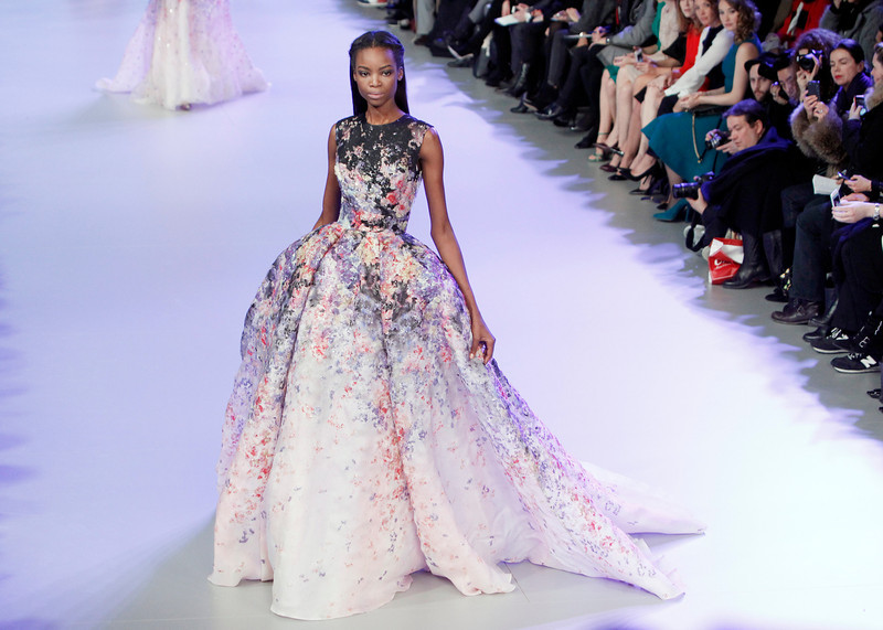 . A model wears a creation during Elie Saab\'s Spring-Summer 2014 Haute Couture fashion collection presentation, in Paris, Wednesday, Jan.22, 2014. (AP Photo/Thibault Camus)