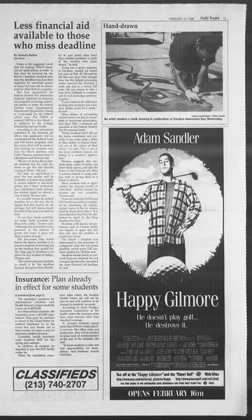 Daily Trojan, Vol. 127, No. 24, February 15, 1996