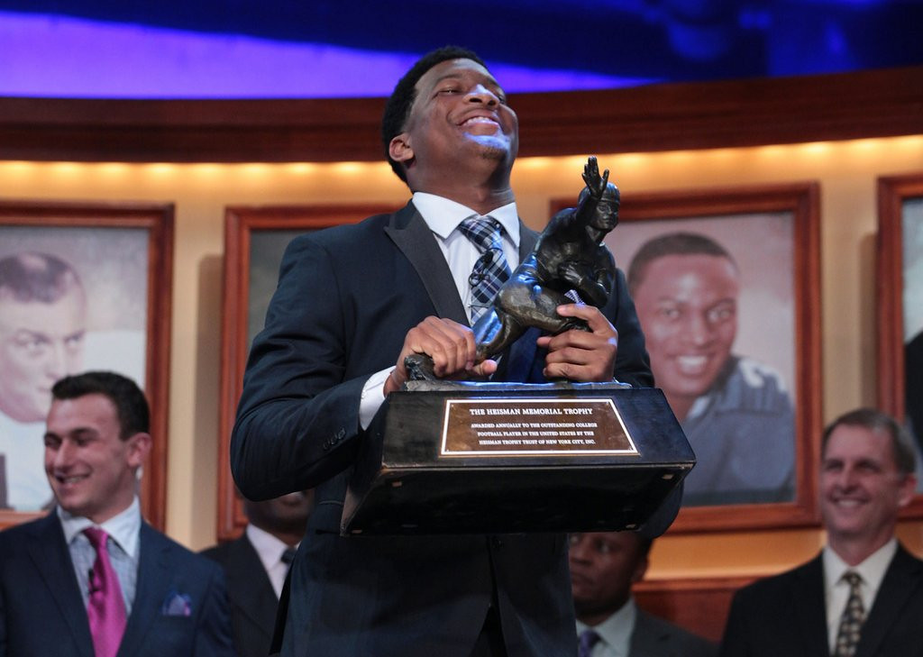 ". <p>38. JAMEIS WINSTON <p>You didn�t know the Heisman Trophy winner a year ago, but the Tallahassee police sure did. <p><b><a href=\'http://www.tampabay.com/sports/college/timeline-when-did-rape-allegations-against-jameis-winston-get-filed/2154277\' target=""_blank\""> HUH?</a></b> <p>    (AP Photo/Heisman Trust, Kelly Kline)"
