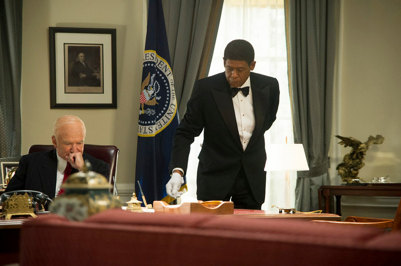 ". This film image released by The Weinstein Company shows Robin Williams as Dwight Eisenhower, left, and Forest Whitaker as Cecil Gaines in a scene from ""Lee Daniels\' The Butler.\"" From \""12 Years a Slave\"" to \""The Butler\"" to \""Fruitvale Station,\"" 2013 has been a banner year for movies directed by black filmmakers. (AP Photo/The Weinstein Company, Anne Marie Fox)"