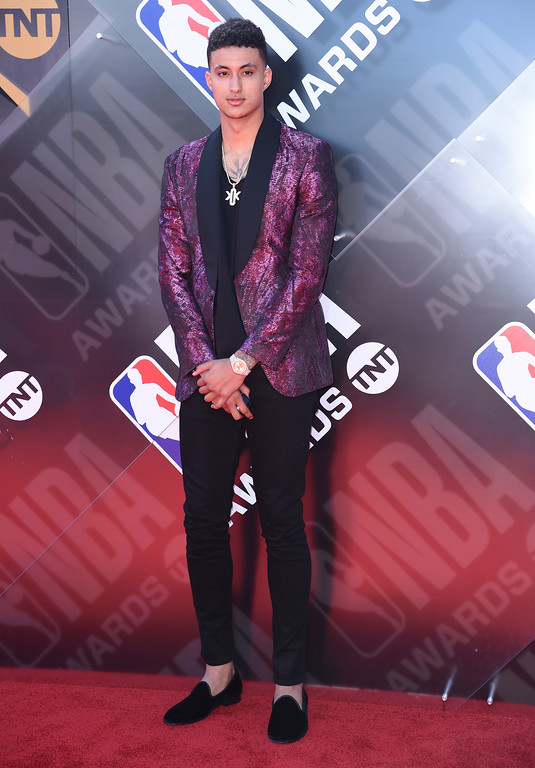 . Kyle Kuzma, of the Los Angeles Lakers, arrives at the NBA Awards on Monday, June 25, 2018, at the Barker Hangar in Santa Monica, Calif. (Photo by Richard Shotwell/Invision/AP)