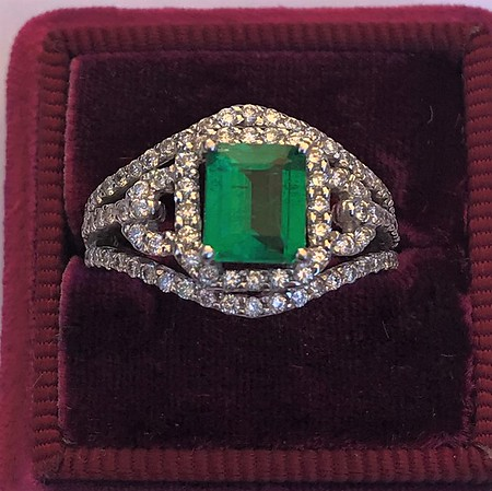 1.29ctw Emerald and Diamond Modified Halo Ring