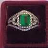 1.29ctw Emerald and Diamond Modified Halo Ring 16