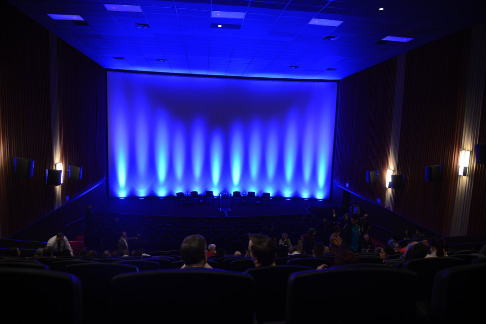 Description of . AURORA, CO. - JANUARY 17:  Guest take their seats before the reopening and remembrance of the Century Aurora Theater where suspect James Holmes is accused of killing 12 people and wounding 70 others on Friday, July 20, 2012 (Photo By RJ Sangosti / The Denver Post)