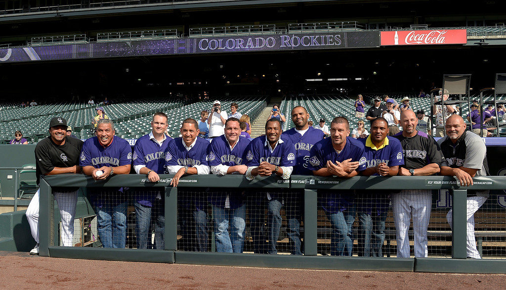 . Colorado Rockies bring back some old favorite players of the fans Vinny Castilla, Andres Galarraga, Jason Jennings, Brian Fuentes, Josh Fogg,  Pedro Astacio, Shawn Chacon, Kevin Ritz, Terry Schumpert, Walt Weis and Dante Bichette during an open workout session July 18, 2013 at Coors Field. (Photo By John Leyba/The Denver Post)