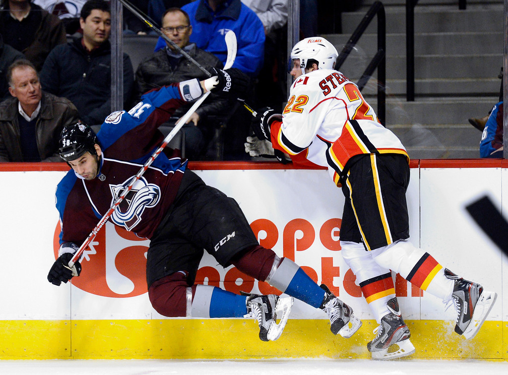 . DENVER, CO. - FEBRUARY 28: Lee Stempniak (22) of the Calgary Flames puts a hit on Patrick Bordeleau (58) of the Colorado Avalanche during the first period February 28, 2013 at Pepsi Center.(Photo By John Leyba/The Denver Post)
