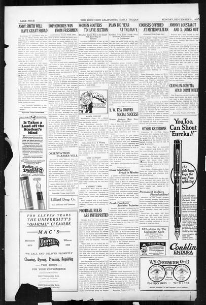 Daily Trojan, Vol. 17, No. 4, September 21, 1925