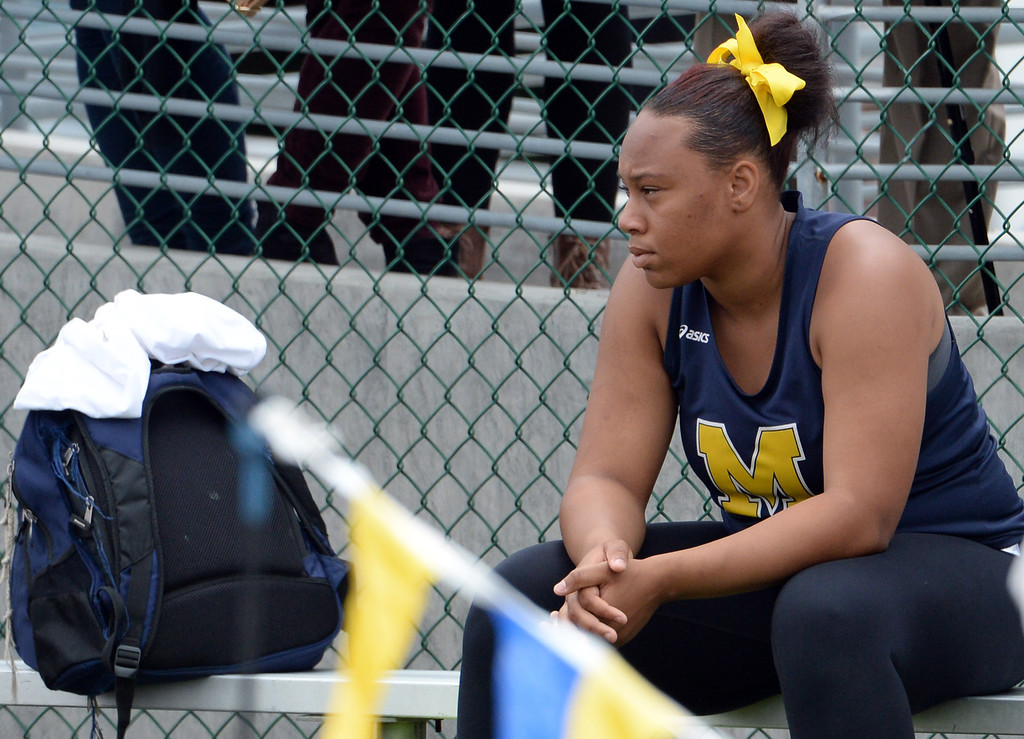 . Muir\'s Tierra Adams after competing in the division 4 shot put during the CIF Southern Section track and final Championships at Cerritos College in Norwalk, Calif., Saturday, May 24, 2014.   (Keith Birmingham/Pasadena Star-News)