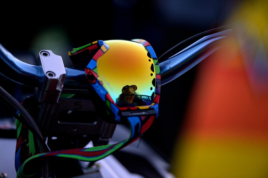 . ASPEN, CO - JANUARY 25: Colten Moore is reflected in his goggles as they hang on his sled in the longest jump competition before a celebration of his late brother, Caleb, who was killed in the snowmobile freestyle event at the 2013 X Games Aspen. X Games Aspen at Buttermilk on Friday, January 25, 2014. (Photo by AAron Ontiveroz/The Denver Post)