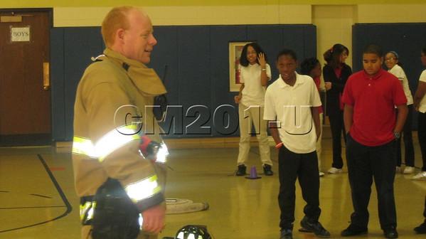 Firefighter leads PE class