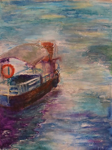 """""""Adrift"""" (oil pastel) by Mary Gholami"""