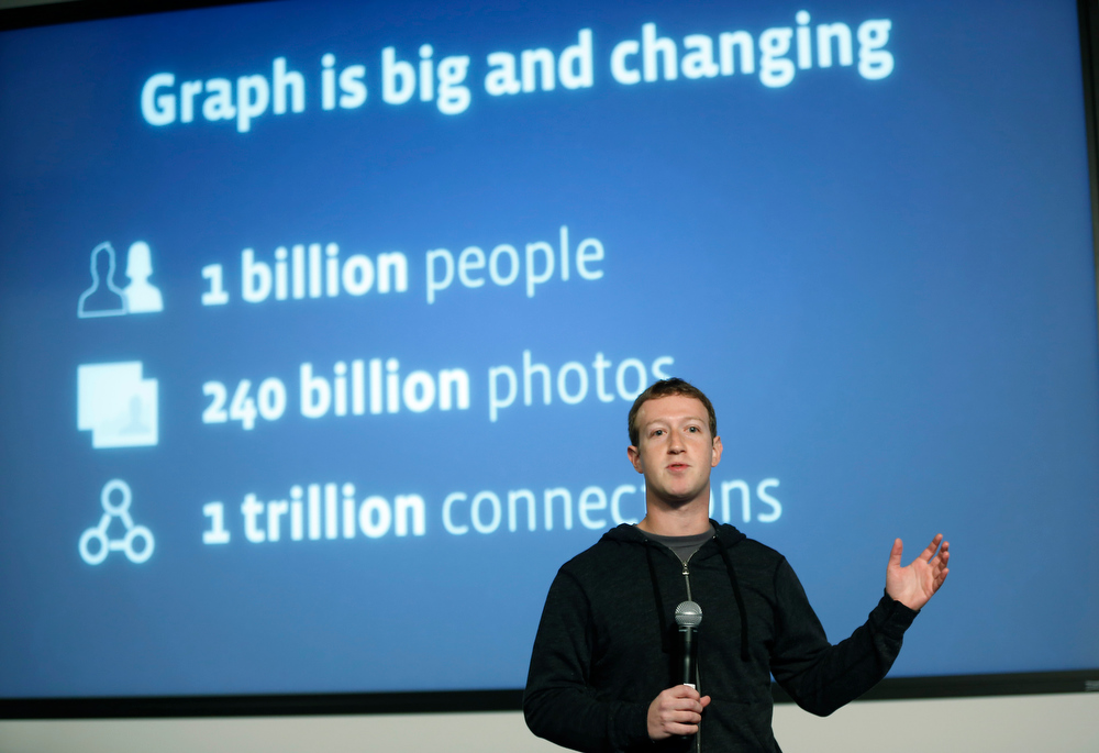 Description of . Facebook Chairman and Chief Executive Mark Zuckerberg introduces Graph Search features during a presentation January 15, 2013 in Menlo Park. Facebook announced a search function that works within the website and allows users to search content that people have shared with you or is public.  (Photo by Stephen Lam/Getty Images)