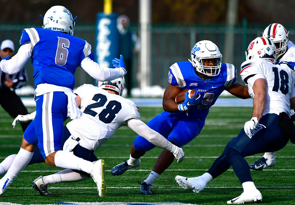 11/17/2018 Mike Orazzi | Staff CCSU's Aaron Dawson (29) at Arute Field in New Britain Saturday afternoon.